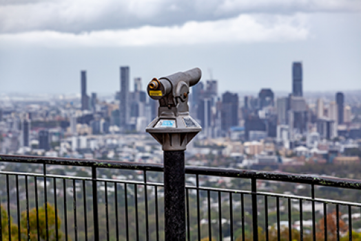 Coin operated binoculars overlooking Brisbane